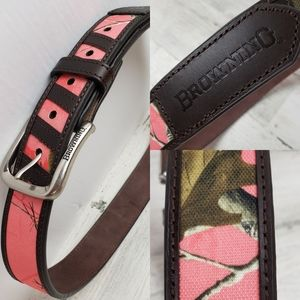 Browning pink camo belt women's 30 leather brown